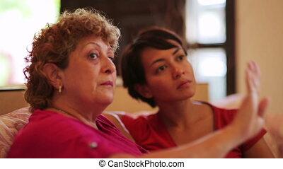 gesprek, vrolijke , dochter, moeder
