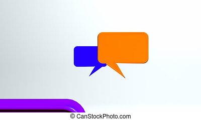 gesprek, warme, kleurrijke, iconen