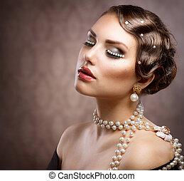 gestyleerd, vrouw, retro, pearls., makeup, jonge, verticaal, mooi