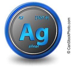 getal, chemisch, zilver, element., nucleair, mass., symbool