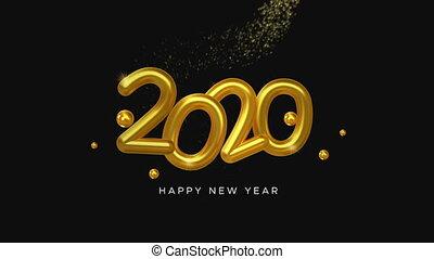 getal, gouden ster, jaarwisseling, 2020, spoor, 3d, kaart