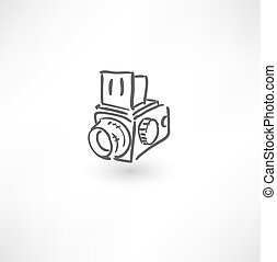 getrokken, fototoestel, oud, hand, pictogram