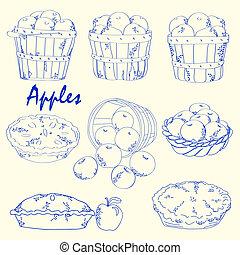 getrokken, hand, appeltjes , iconen