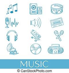 getrokken, set, muziek, hand, iconen