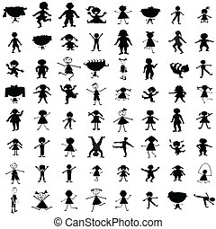 getrokken, silhouettes, set, kinderen, hand