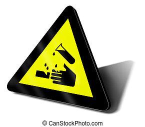 gevaarsteken, zuur, waarschuwend