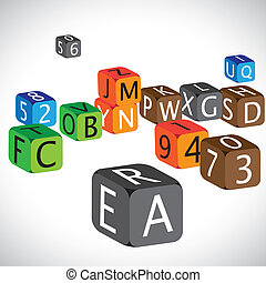 geval, cijfers, gebruikt, taal, kleurrijke, blokje, engelse , illustratie, numbers., gemaakt, karakters, hoofdstad, alfabet, aanleren, kinderen