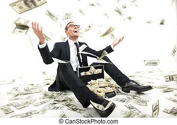 geval, volle, zittende , gegooi, geld, rich!, jonge, formalwear, op, valuta, terwijl, papier, zakenman, vrolijke