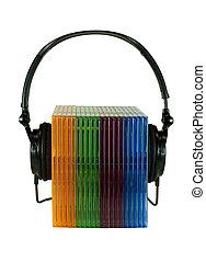 gevallen, headphones, cd