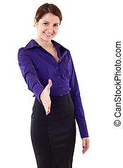 geven, businesswoman, hand, handdruk