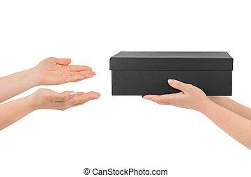 geven, doosje, handen