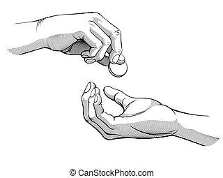 geven, krijgen, &, geld, handen