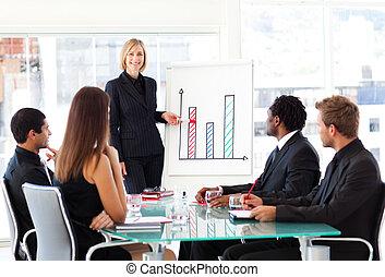 geven, presentatie, businesswoman