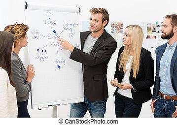 geven, presentatie, leider, team