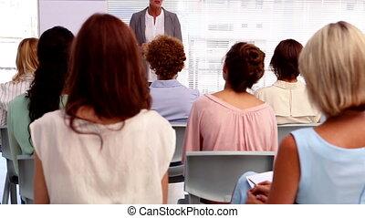 geven, t, presentatie, businesswoman