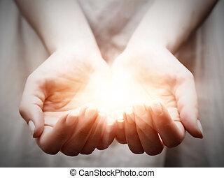 geven, vrouw, delen, licht, jonge, offergave, bescherming, hands.