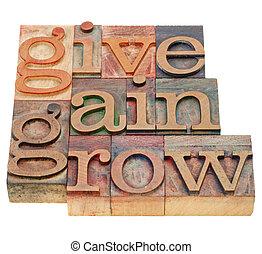 geven, winst, groeien