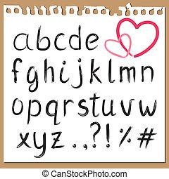 geverfde, 2, alfabet, borstel