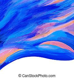 geverfde, abstract, acryl, achtergrond