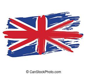 geverfde, vlag, brits