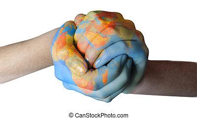 geverfde, wereld, handen