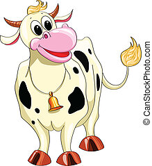 gevlekt, spotprent, koe