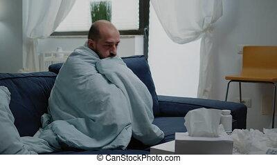 gevoel, verpakte, rillende, deken, persoon, koude, griep