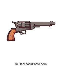 geweer, retro, isolated., schets, cowboy, pictogram, revolver, of, spotprent, vector, illustratie