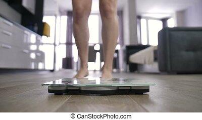 gewicht aderlating, benen, vrouwlijk, schub, vieren