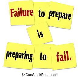 gezegde, voorbereiden, memo , mislukking, het bereiden, het niet doen