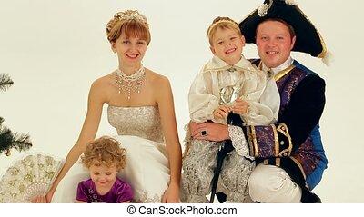 gezin, aristocrats, vrolijke