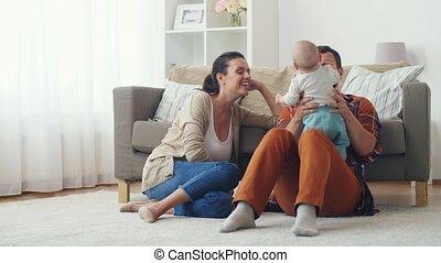 gezin, baby, plezier, thuis, hebben, vrolijke
