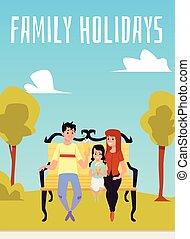 gezin, bench., vrolijke , illustratie, park, zittende