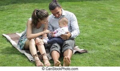 gezin, buiten