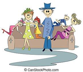 gezin, couch., zittende