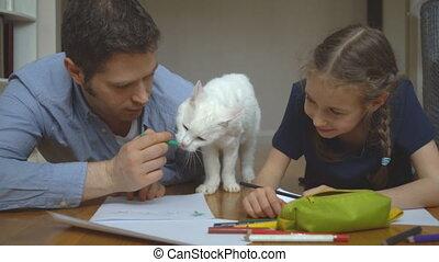 gezin, floor., tekening, kat