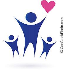 gezin, gezondheid, gemeenschap, iconen