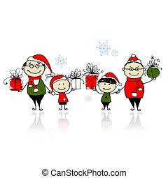 gezin, gifts., kerstmis samen, vrolijke