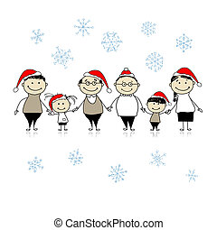 gezin, groot, samen, ontwerp, vrolijk, kerstmis., jouw, vrolijke