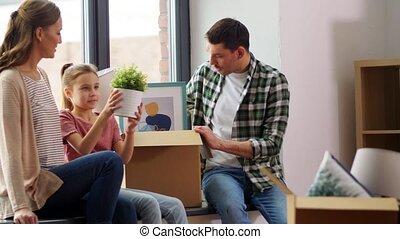 gezin, kind, thuis, vrolijke , verhuizing, nieuw