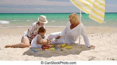 gezin, kleine, zand, plezier, strand, hebben