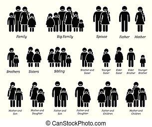 gezin, mensen, icons.