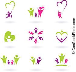 gezin, mensen, (, p, verhouding, pictogram, verzameling, roze, groene