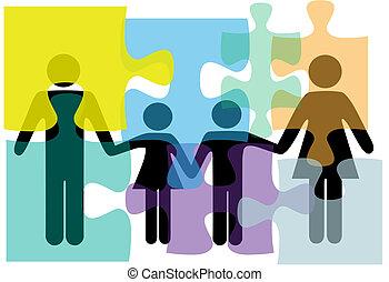 gezin, mensen, raadsel, oplossing, gezondheid, diensten, probleem