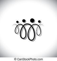 gezin, mensen, symbols(icons), abstract, vier, rotaties, gebruik, lijn