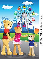 gezin, park, beer, plezier, hebben, vermaak