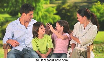 gezin, park, vrolijke