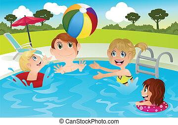 gezin, pool, zwemmen