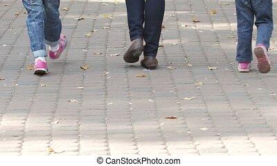 gezin, samen, wandeling, ouders, kind, summer., vrolijke