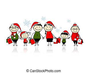 gezin, shopping., kerstmis samen, vrolijke